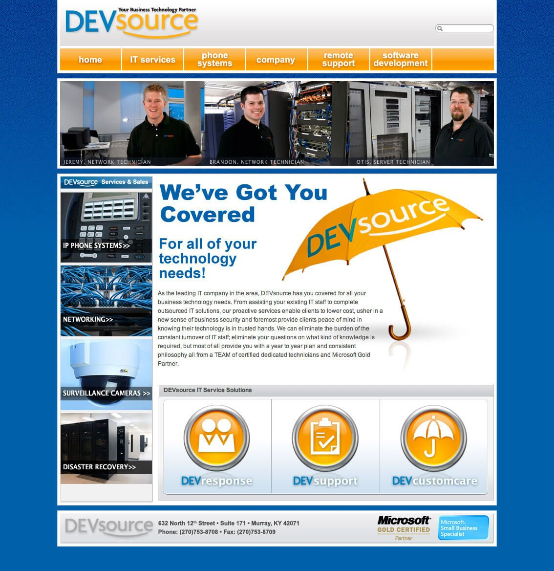 DEVsource Technologies website by EyeSite Creations