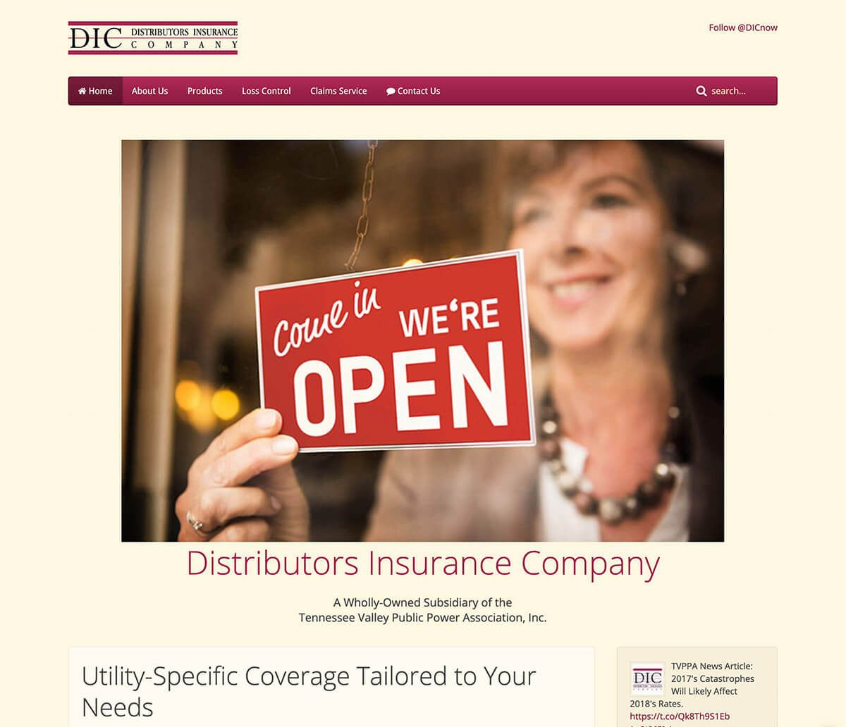 Distributors Insurance Company website by EyeSite Creations