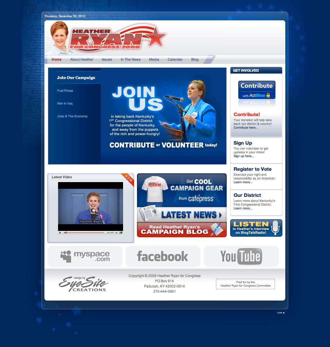 Heather Ryan for Congress website by EyeSite Creations