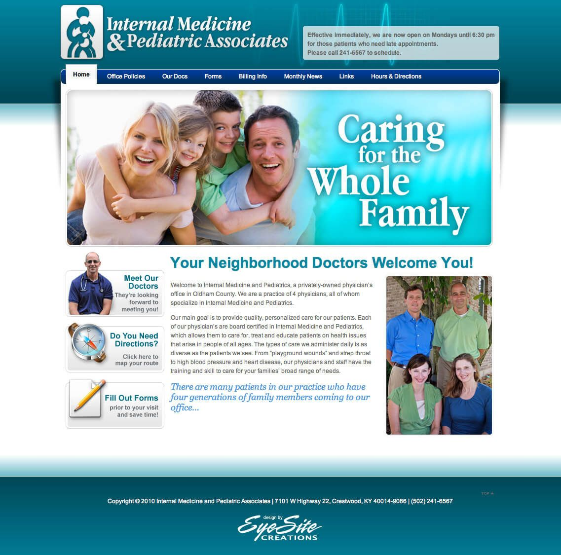 Internal Medicine & Pediatrics website by EyeSite Creations