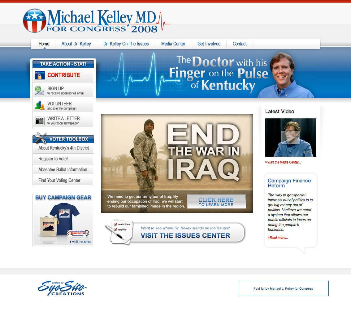 Michael Kelley for Congress website by EyeSite Creations