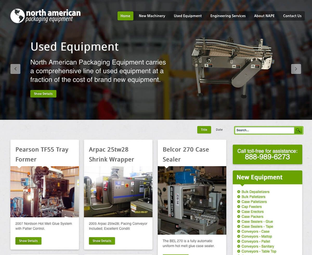 North American Packaging Equipment website by EyeSite Creations