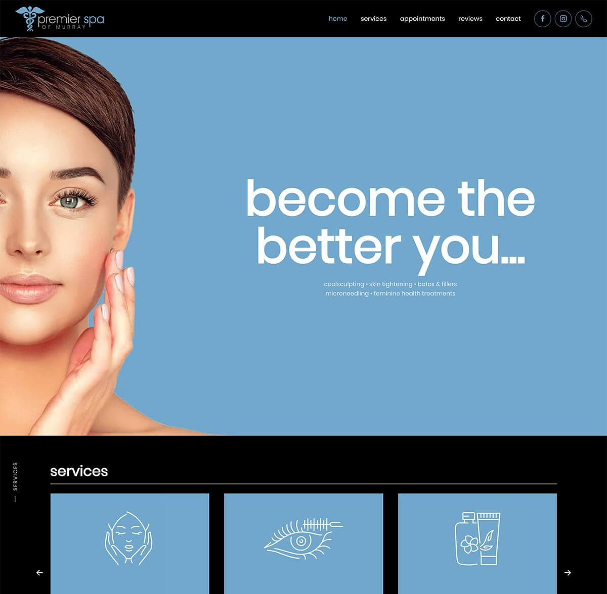 Premier Spa of Murray website by EyeSite Creations