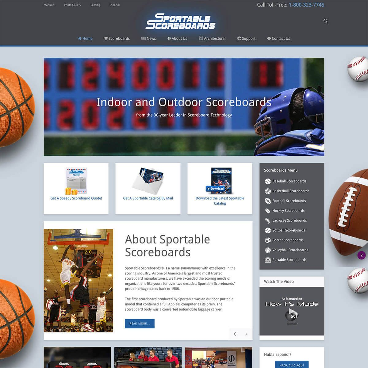 Sportable Scoreboards website by EyeSite Creations