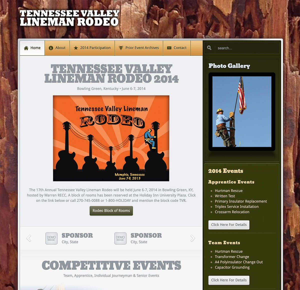 Tennessee Valley Lineman Rodeo website by EyeSite Creations