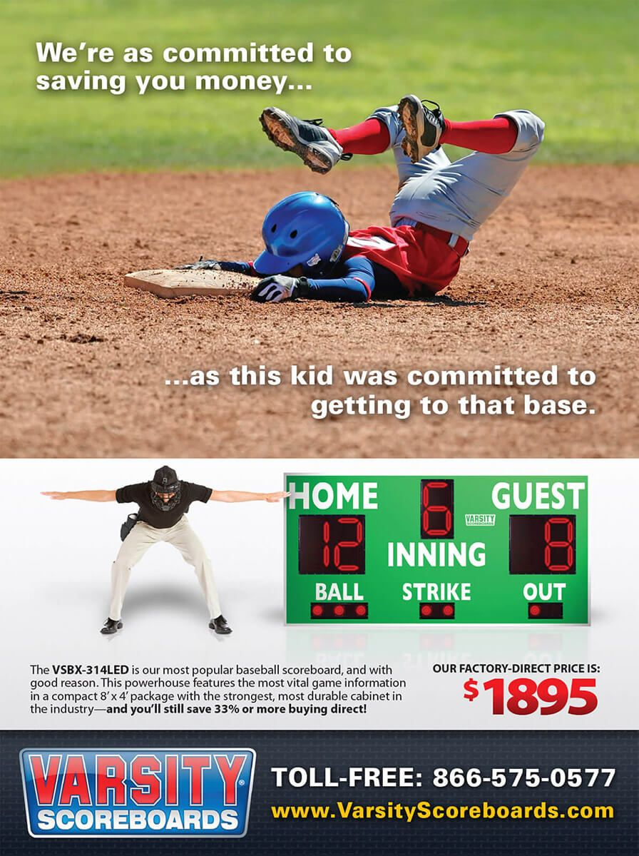 Varsity Scoreboards magazine ad by EyeSite Creations