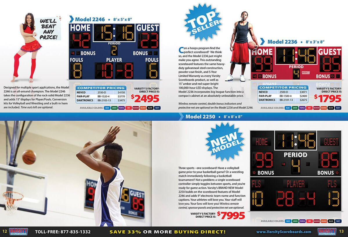 Varsity Scoreboards catalog interior by EyeSite Creations