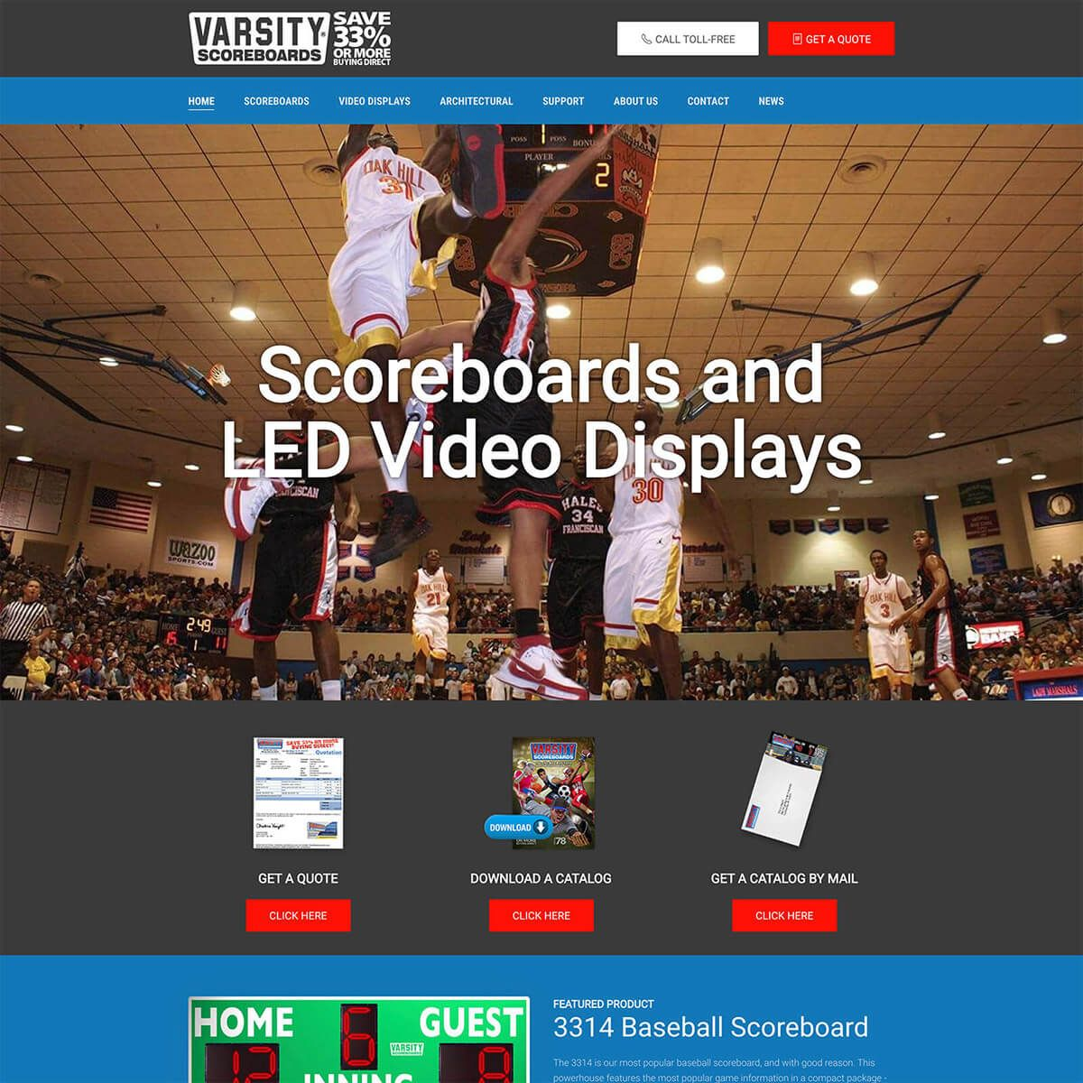Varsity Scoreboards website by EyeSite Creations